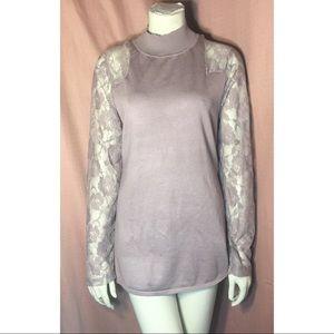 Tops - NWOT Mauve Lilac Mock Neck Sweater Top Lace